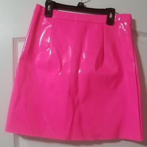 Missguided hot pink pleather mini skirt